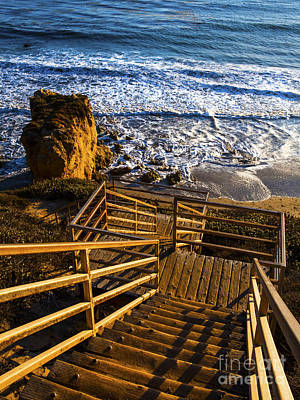 Poster featuring the photograph Steps To Blue Ocean And Rocky Beach by Jerry Cowart