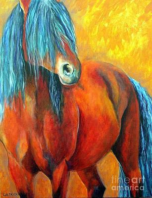Poster featuring the painting Stallions Concerto  by Alison Caltrider