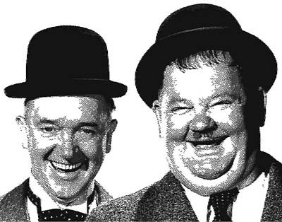 Stan And Ollie - Parallel Hatching Poster by Samuel Majcen