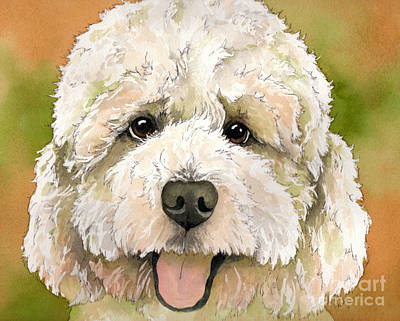 Standard White Poodle Dog Watercolor Poster by Cherilynn Wood