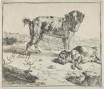 Standing And Sleeping Dog, Johan Le Ducq Poster