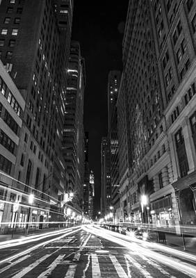 Standing In Traffic In New York City Black And White Poster by David Morefield
