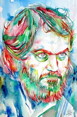 Stanley Kubrick Watercolor Portrait Poster by Fabrizio Cassetta