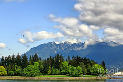 Stanley Park And Lions Mountain Poster by Charline Xia