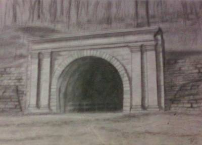 Poster featuring the drawing Staple Bend Tunnel West Facade by Thomasina Durkay