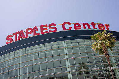 Staples Center Sign In Los Angeles California Poster