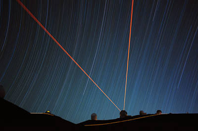 Star Trails Over Mauna Kea Observatory Poster
