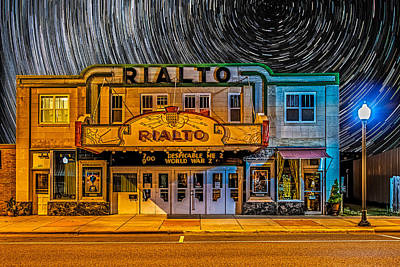 Star Trails Over The Rialto Poster by Paul Freidlund