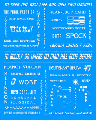 Star Trek Remembered In Blue Poster by Georgia Fowler