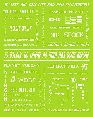 Star Trek Remembered In Green Poster by Georgia Fowler