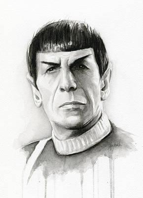 Star Trek Spock Portrait Poster by Olga Shvartsur