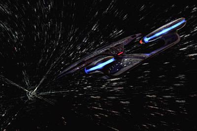 Star Trek - Wormhole Effect - Uss Enterprise D Poster by Jason Politte