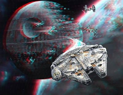 Star Wars 3d Millennium Falcon Poster