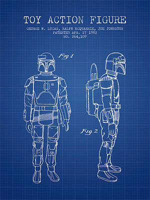 Star Wars Boba Fett Patent From 1982 - Blueprint Poster by Aged Pixel