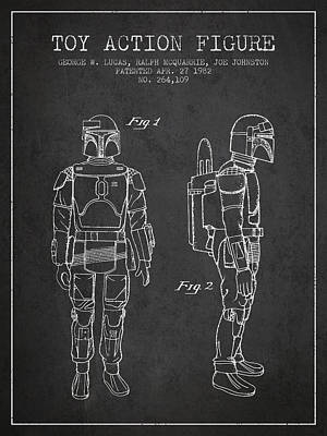 Star Wars Boba Fett Patent From 1982 - Charcoal Poster by Aged Pixel