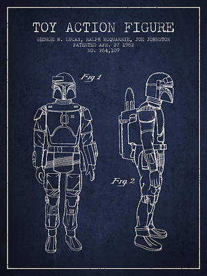 Star Wars Boba Fett Patent From 1982 - Navy Blue Poster by Aged Pixel