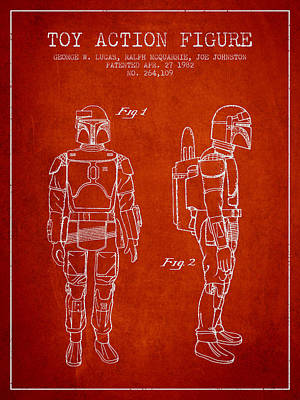 Star Wars Boba Fett Patent From 1982 - Red Poster by Aged Pixel