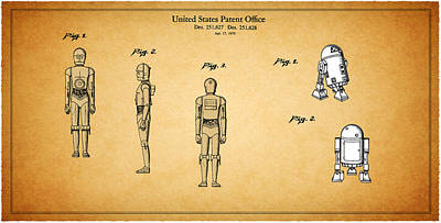 Star Wars - C3po And R2d2 Patent Poster