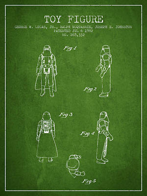 Star Wars Darth Vader Patent From 1982 - Green Poster by Aged Pixel
