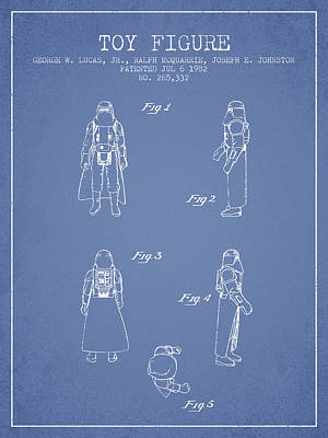 Star Wars Darth Vader Patent From 1982 - Light Blue Poster by Aged Pixel