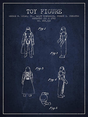 Star Wars Darth Vader Patent From 1982 - Navy Blue Poster by Aged Pixel
