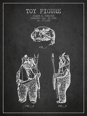 Star Wars Toy Figure No4 Patent Drawing From 1985 - Charcoal Poster by Aged Pixel