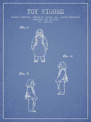 Star Wars Toy Figure Patent Drawing From 1982 - Light Blue Poster by Aged Pixel