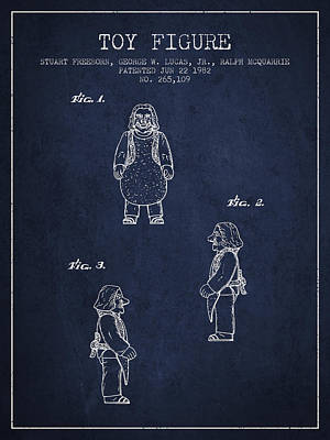 Star Wars Toy Figure Patent Drawing From 1982 - Navy Blue Poster by Aged Pixel