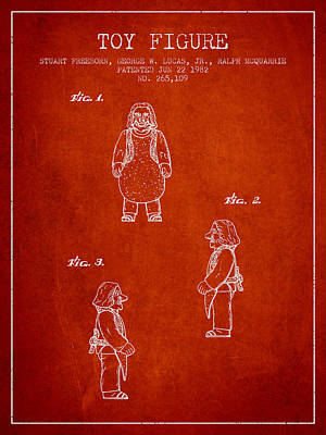 Star Wars Toy Figure Patent Drawing From 1982 - Red Poster by Aged Pixel