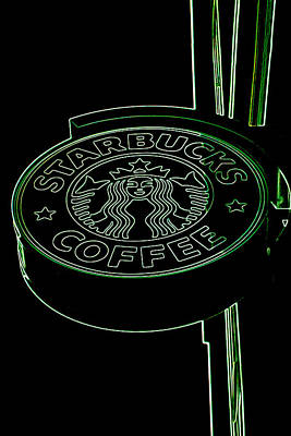 Starbucks Coffee Sign In Neon Poster by Joann Vitali