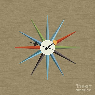 Starburst Clock 1 Pillow Poster by Donna Mibus