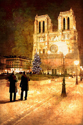 Stardust Over Notre Dame De Paris Cathedral Poster by Mark E Tisdale