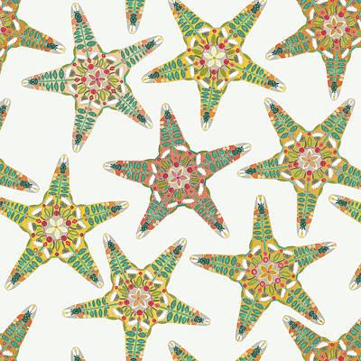 Starfish Flowers Off White Poster