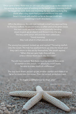 Starfish Make A Difference  Poster by Terry DeLuco