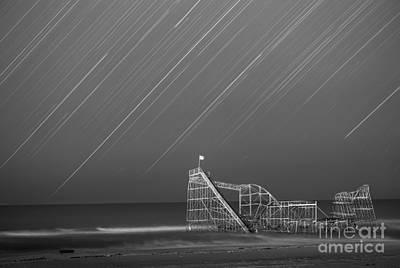 Starjet Roller Coaster Startrails Bw Poster by Michael Ver Sprill