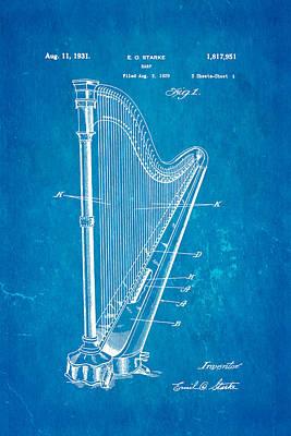 Starke Harp Patent Art 1931 Blueprint Poster by Ian Monk