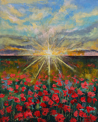 Starlight Poppies Poster by Michael Creese