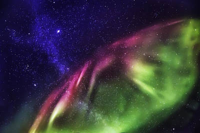 Starry Evening With The Aurora Borealis Poster