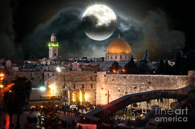 Full Moon At The Dome Of The Rock Poster