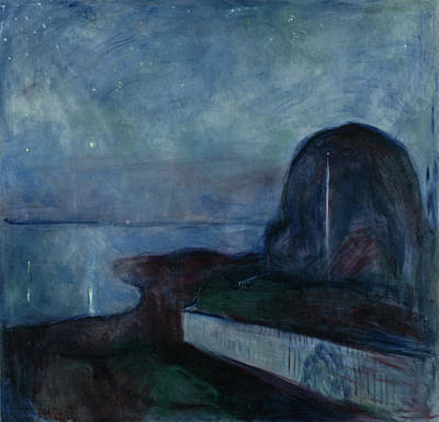 Starry Night Edvard Munch, Norwegian Poster by Litz Collection