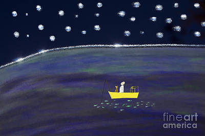 Poster featuring the digital art Starry Night Fishing by Haleh Mahbod