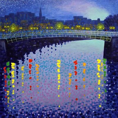 Starry Night In Dublin Half Penny Bridge Poster by John  Nolan