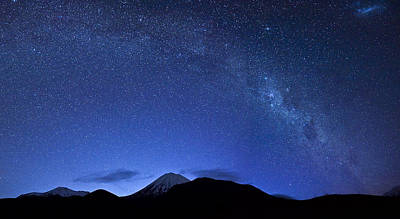 Starry Night Over Mount Ngauruhoe Poster