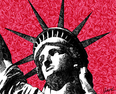 Starry Night Statue Of Liberty Print Poster