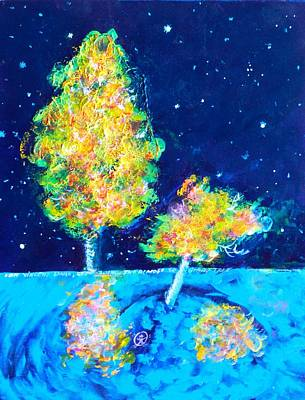 Starry Night With Almost Solitary Tree Poster by Ion vincent DAnu