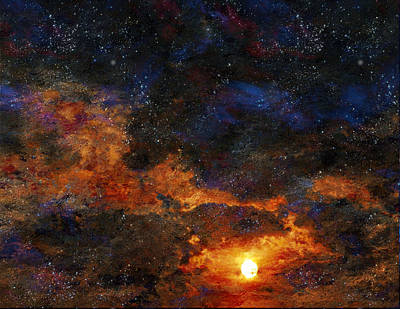 Poster featuring the digital art Starry Sunset by Bruce Rolff