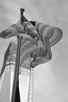Stars And Stripes And 1 W T C In Black And White Poster by Rob Hans