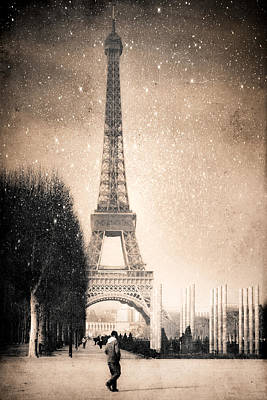 Stars Fall On The Eiffel Tower Poster by Mark E Tisdale