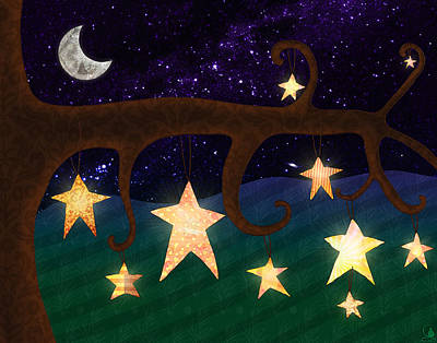 Stars In Trees At Night Poster