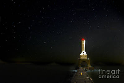 Stars Over Port Washington Lighthouse Poster by Twenty Two North Photography